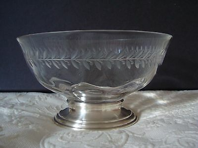 Hawkes Sterling Antique Crystal Bowl c1935 Engraved Sterling Base Signed