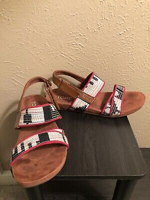 3d48f98f7db Toms Tierra Women s Sandals Native Tribal Traveling Woven Red White Black 8M