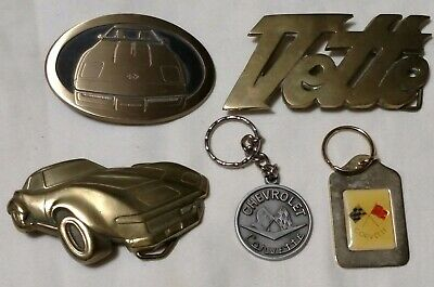 Lot Of Vintage Corvette Belt Buckles And Key Chains brass bronze pewter baron