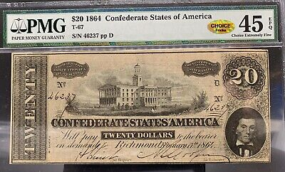 Confederate States of America 1864 $20 Note T-67.  PMG Graded 45 Choice EF EPQ