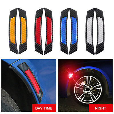2Pcs Carbon Fiber Protection Car Wheel Eyebrow Edge Reflective Guard Sticker !