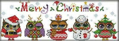 Christmas Owls. 14CT counted cross stitch kit. Craft brand new