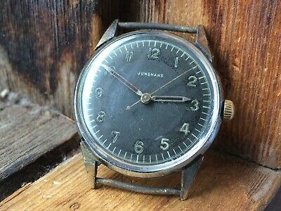 AUTHENTIC Nice Vintage Gents JUNGHANS CAL.80 Military,German Hand Wind Watch