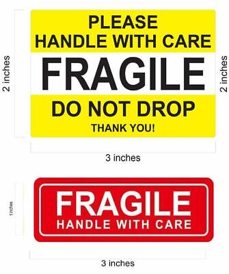1 x 3 RED FRAGILE STICKERS / DO NOT DROP YELLOW FRAGILE STICKER HANDLE WITH CARE