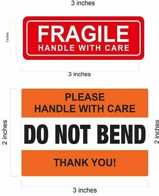 1 x 3 RED FRAGILE STICKERS / 2 X 3 DO NOT BEND ORANGE STICKER HANDLE WITH CARE