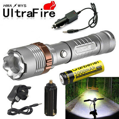 Ultrafire Tactical 20000LM T6 LED 18650 Zoomable Rechargeable Flashlight Torch