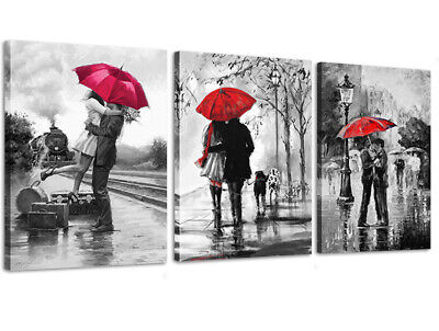 Canvas Wall Art Black White and Red Umbrella Loves Framed Picture for Wall Decor