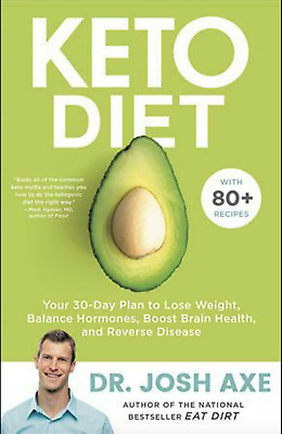 Keto Diet by Dr Josh Axe Hardcover Book Cookbook Brain Food Weight Loss 30-Days