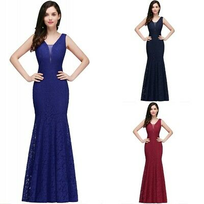 Long Lace Evening Formal Party Dress Prom Ball Gown Bridesmaid AU 6-20 New