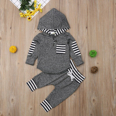 Toddler Baby Boys Girls Unisex Clothes Warm Hooded Sweatshirt+Pants Outfits Set