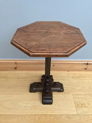 Antique Victorian Church Table Oak Gothic Wine Occasional Pedestal Side Table