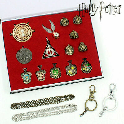 14pc/set Harry Potter Hufflepuff Magic school Crest Ring necklace keyring In Box