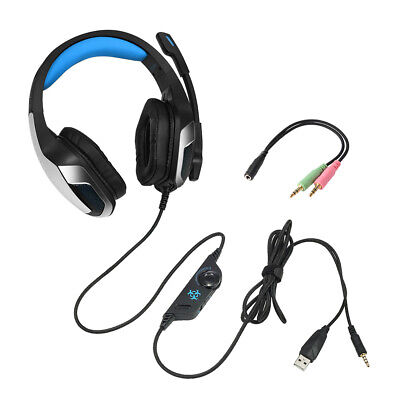 3.5mm Wired Gaming Headset MIC USB LED Headphones Surround for PS4 Player TH818