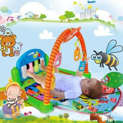 3 in 1 Musical Lullaby Baby Activity Gym Floor Kid & Play Piano Toy Play Mat