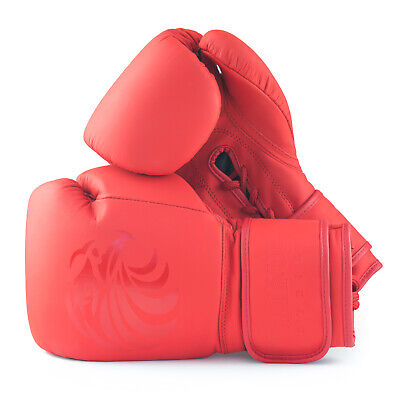Pro Leather Boxing Gloves 8oz - 16oz Punch Bag Sparring Fight MMA Muay Thai Red