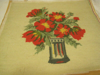 "VTG 15"" x 15"" Finished Needlepoint RED POPPIES? IN VASE"
