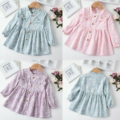Toddler Baby Girls Long Sleeve Solid Ruched Floral Flower Bow Dressed Clothes