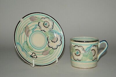 Grays Pottery - Free Hand Painted ART DECO Coffee Can & Saucer - A1580 c.1935
