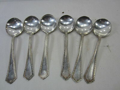 "6 pc Branford Silver Plated Soup Spoons -  Gem Pattern 7"" No Monogram"