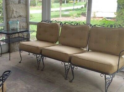 Woodard Chantilly Rose 3 Piece Sofa Couch w/ Cushions Local Pickup Wrought Iron