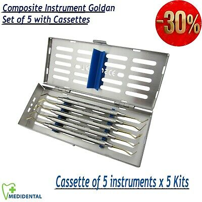 Cassettes of Composite Gold Tip Filling Dental Placement Instruments pack of 5