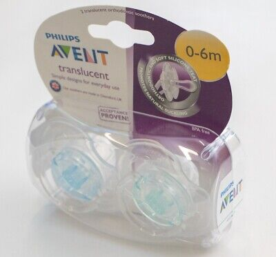 Avent Translucent Soother Twin Pack - 0-6m **NEW WITH DAMAGED PACKAGING** (D47)