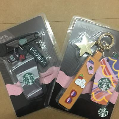 2018 New Starbucks China Frappuccino Die Cut Black+Pink MSR Card with Charms Set