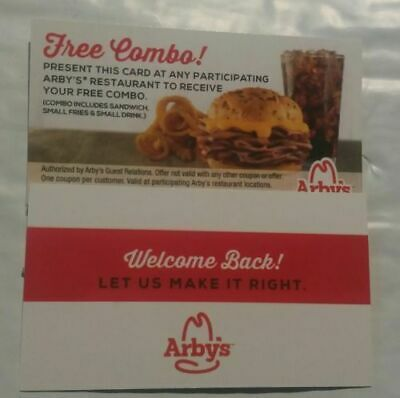 5 Arby's Combo Meal Cards