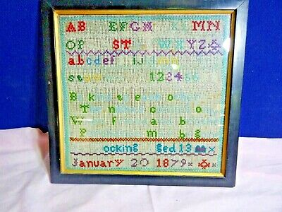 1879 Tapestry Alphabet Sampler 139 Year Old Made By An 13 Year Old Girl