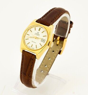 1970's women's Omega 684 Geneve automatic gold plated Swiss wristwatch with date