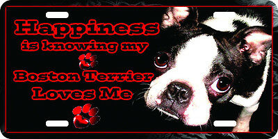 airbrushed aluminum happiness loving my boston terrier car tag  license plate