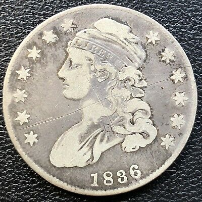1836 Capped Bust Half Dollar 50c Circulated #13470