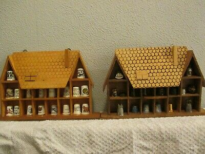 Job Lot 34 Thimbles + 2 Display Cases. Some may be antique