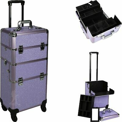 Rolling Makeup Train Case Trolley Aluminum Storage Cosmetic Organizer 2 in 1
