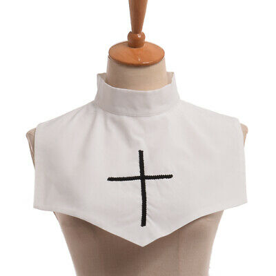 Vintage Gothic Cross Embrodiery White Detachable Collar Two-side Mini Cape