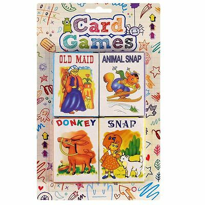 Pack Of 4 Classic  Kids Childrens Card Games Fun Old Maid Animal Snap Donkey Uk