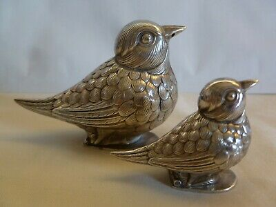 Sterling Silver  2 Size  Bird Figurine Salt & Pepper Shakers Made In Portugal