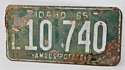 1965 IDAHO License Plate Collectible Antique Vintage 1L 10-740 Famous Potatoes
