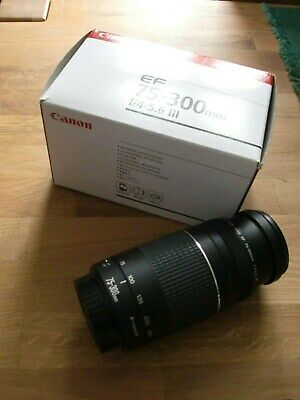Canon Objektiv EF 75-300 mm f/4 - 5,6 III Zoom Lens Top in OVP