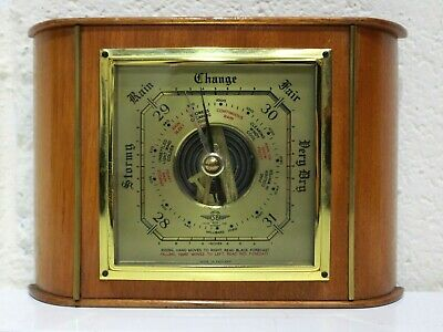 Vtg 'SB' Wall Mounted Wood & Brass BAROMETER Made in England - 250