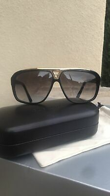 b354972aeea Louis Vuitton Z0350W A0141 Evidence Black Gold Aviator Sunglasses 66 7  Authentic