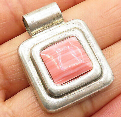 MEXICO 925 Sterling Silver - Vintage Inlay Pink Agate Slide Pendant - P5086