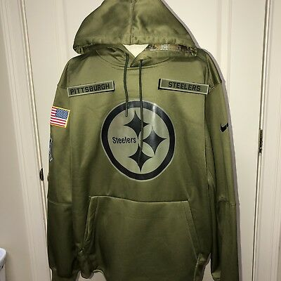 PITTSBURGH STEELERS Salute to Service LARGE Therma Fit Hoodie 2018 Military  STS b0f38650f