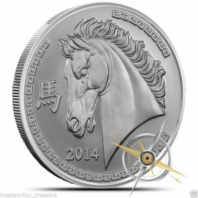 2014 Year of the horse 1 Troy ounce .999 pure silver round Provident Metals