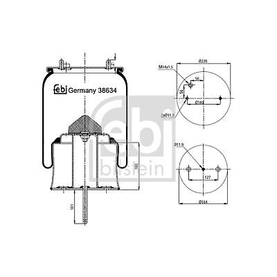 febi bilstein 20897 Air Spring without piston pack of one