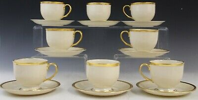 16 Pc Lenox Tuxedo Porcelain Presidential Gold Band Footed Tea Cup Saucer Set