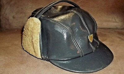 Vintage 1960S Simulated Leather Boys Hat Cap With Fur Trim With Emblem Childrens