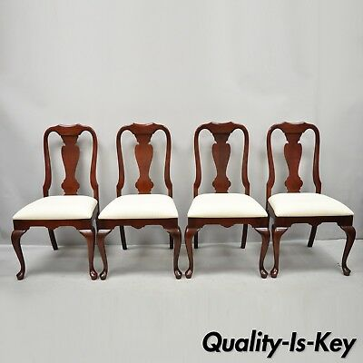 Set of 4 Solid Cherry Wood Queen Anne Style Dining Chairs by Colonial Furniture