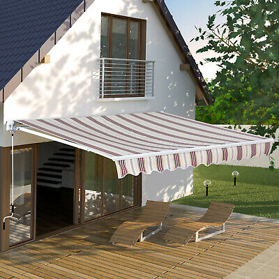 Outsunny 10'X8' Window Door Sun Shade Manual Retractable Patio Awning Red