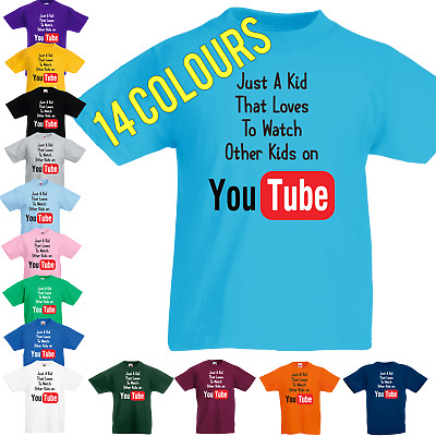 JUST A KID T SHIRT that loves to watch other kids on Youtube Gaming Boys Girls